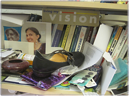 Shoe on Bookshelf